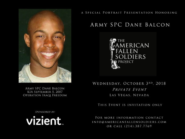 Army SPC Dane Balcon to be Honored at Las Vegas Event